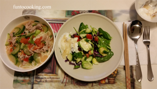 Asian Noodle Soup, Brussels Sprouts & Spinach Salad