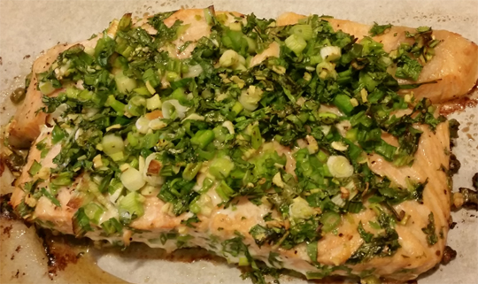 Green Onion, Cilantro Roasted Salmon
