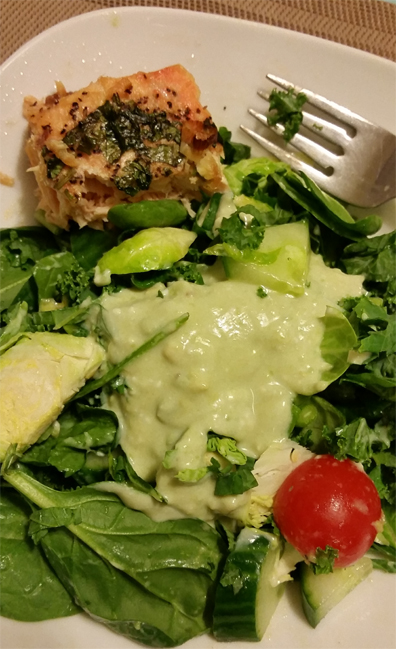 Spring Green Salad Roasted Salmon